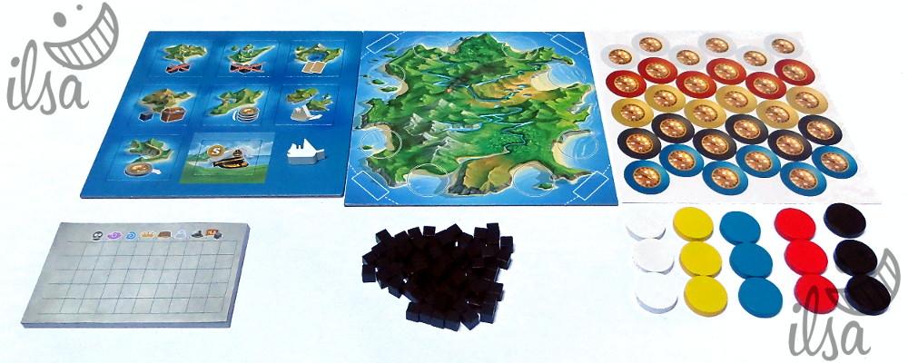 Loot Island plancia, tessere e segnalini